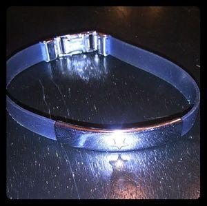 Goth Blue Strap Stainless Steel Star Bracelet!